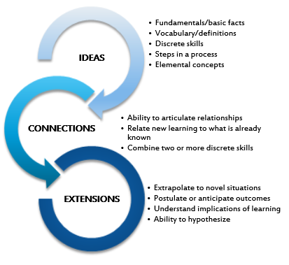 The ICE model is an acronym for ideas, connections, and extensions as noted by the diagram.