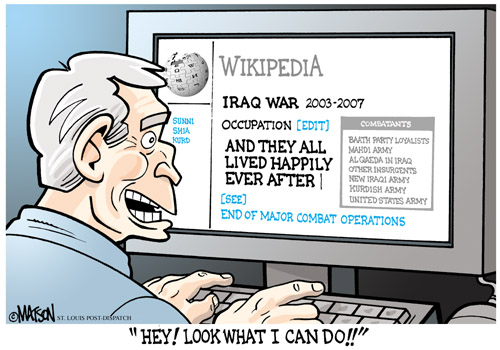 Caricature : Georges Wikipedia Bush