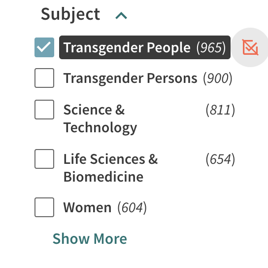 Subject filter showing the subject Transgender People selected.