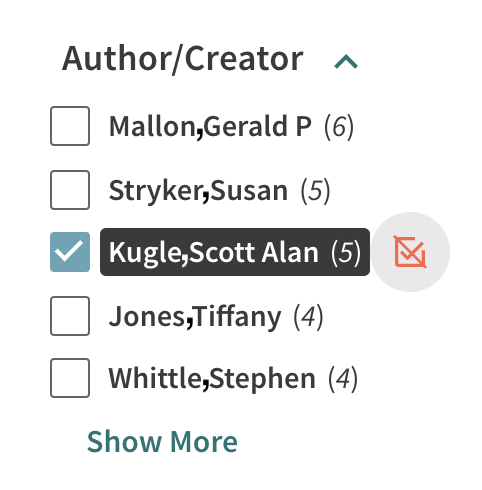 Author creator filter showing the author Scott Alan Kugle selected.