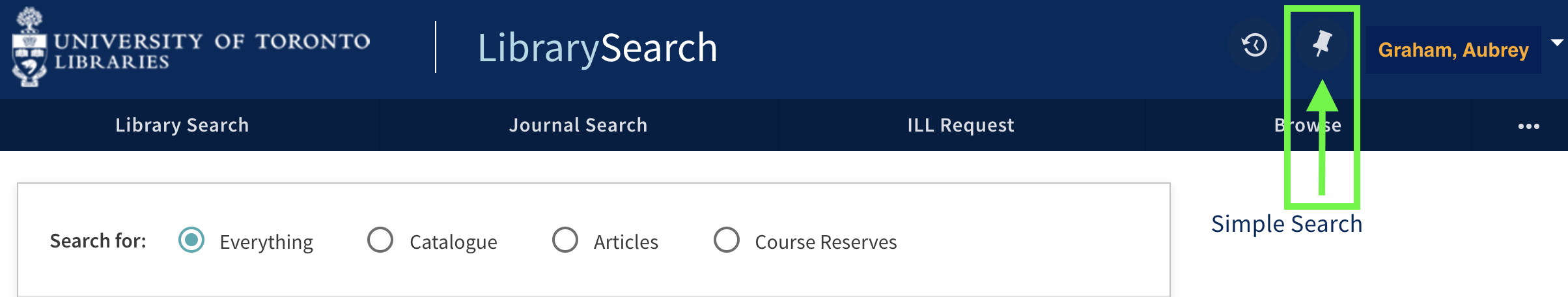 LibrarySearch banner showing the location of the push pin Favourites icon