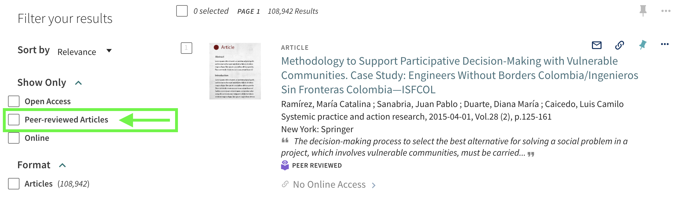 Results page with arrow pointing to peer-reviewed articles filter.