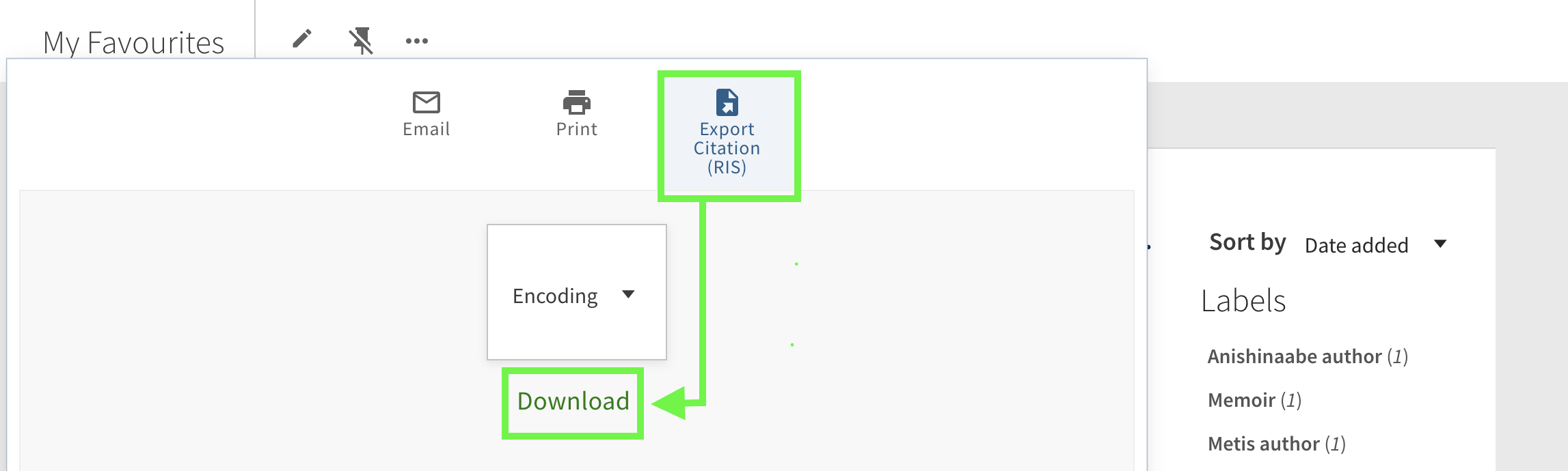 An arrow stretches between the RIS option and the Download button.