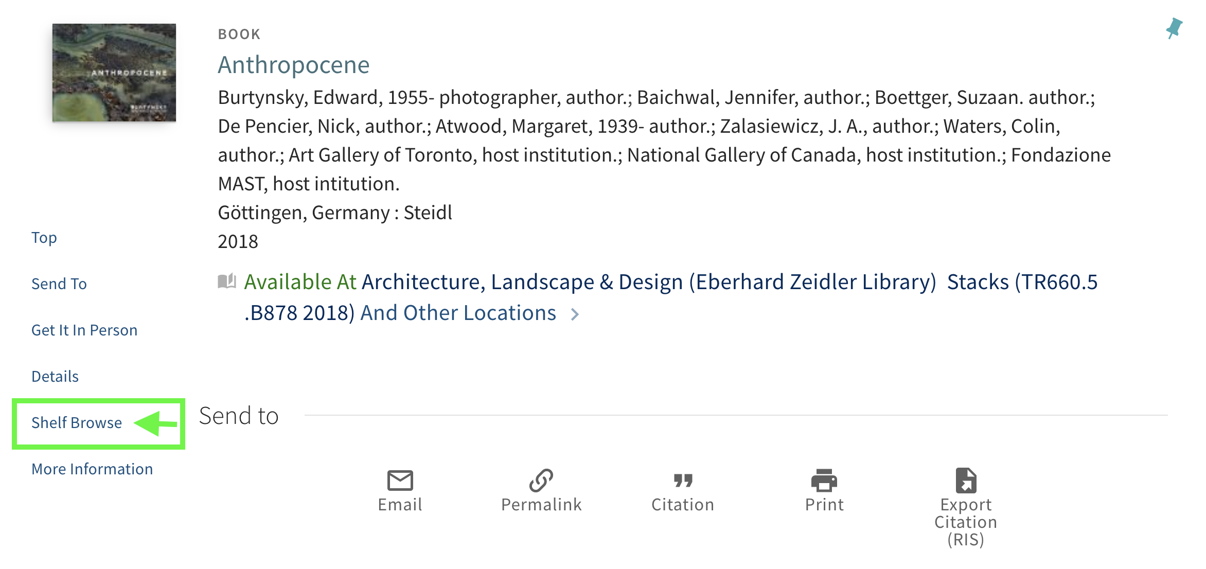 Detailed record of the book Anthropocene with the Shelf Browse menu option highlighted.