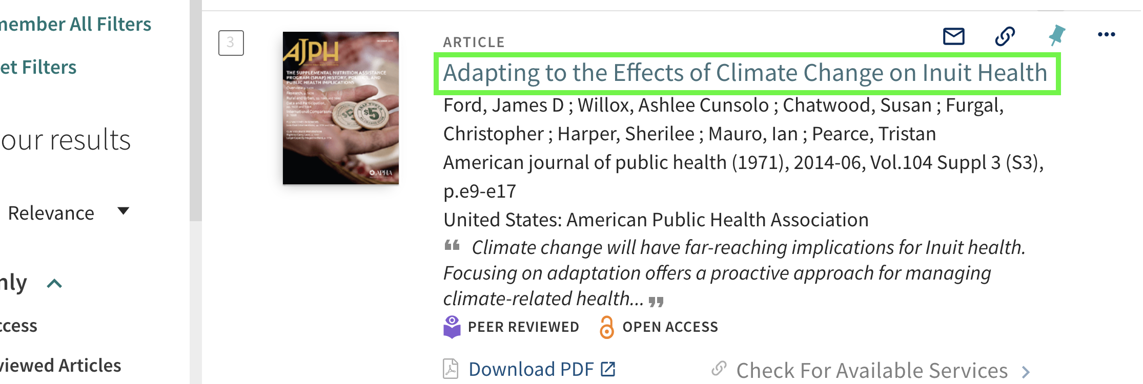 A brief article record highlighting the title: Adapting to the Effects of Climate Change on Inuit Health.