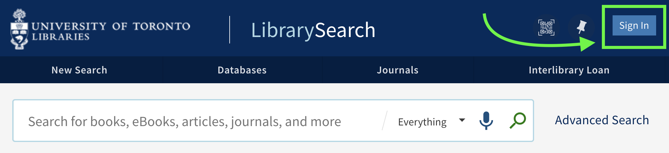 Sign In button located in top right corner of LibrarySearch interface