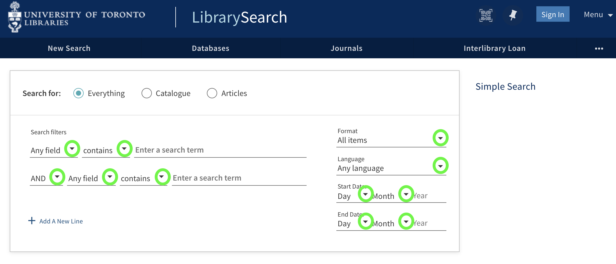 Advanced search interface highlighting where drop-down menus can be accessed.
