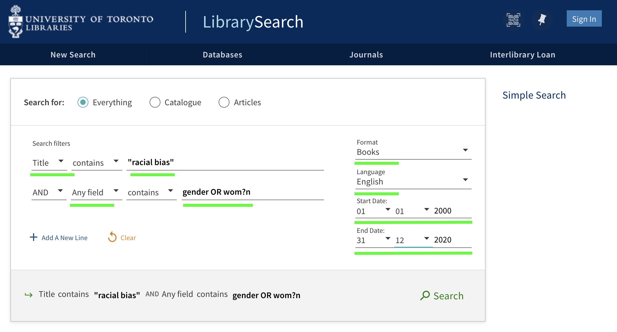 Advanced search interface modified to direct the database to locate the first search term in item titles, the second search term anywhere in the item record. Drop down menus also selected to limit results to books in English published between 2000 and 2020.
