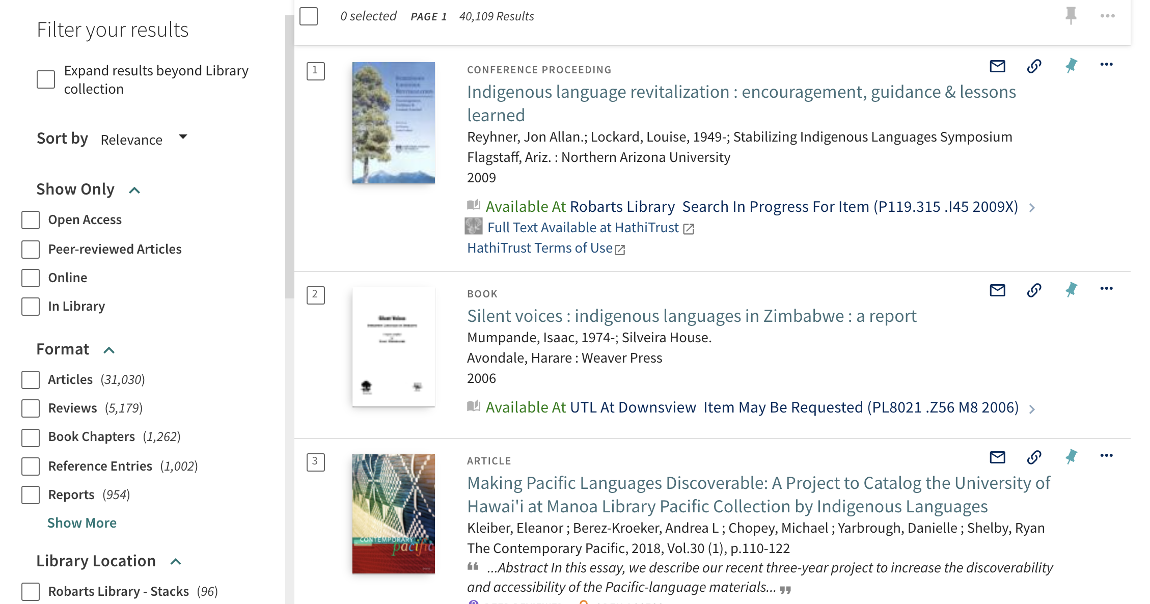 "Results for indigenous language and policy search with the conference proceeding ""Indigenous language revitalization"" listed as the first result."