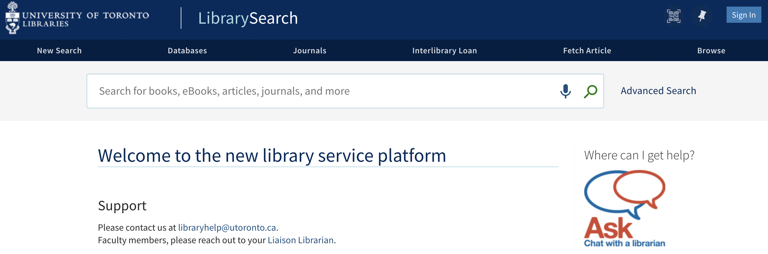 LibrarySearch basic interface.