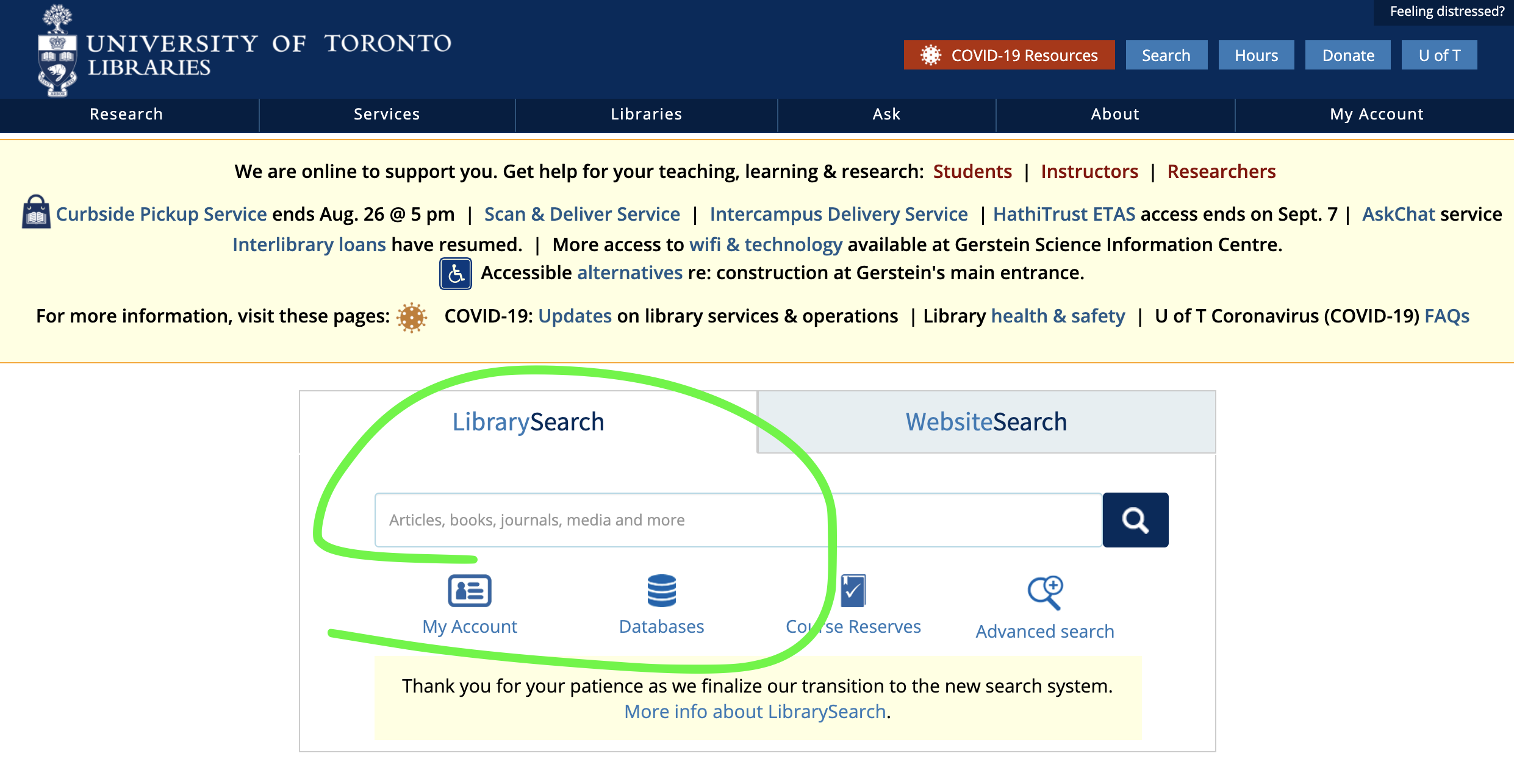 LibrarySearch starting point on library homepage