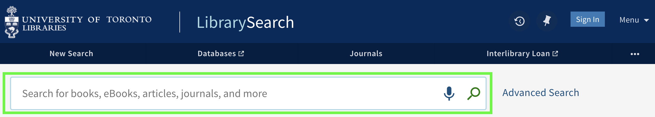 Basic search interface with the search box highlighted