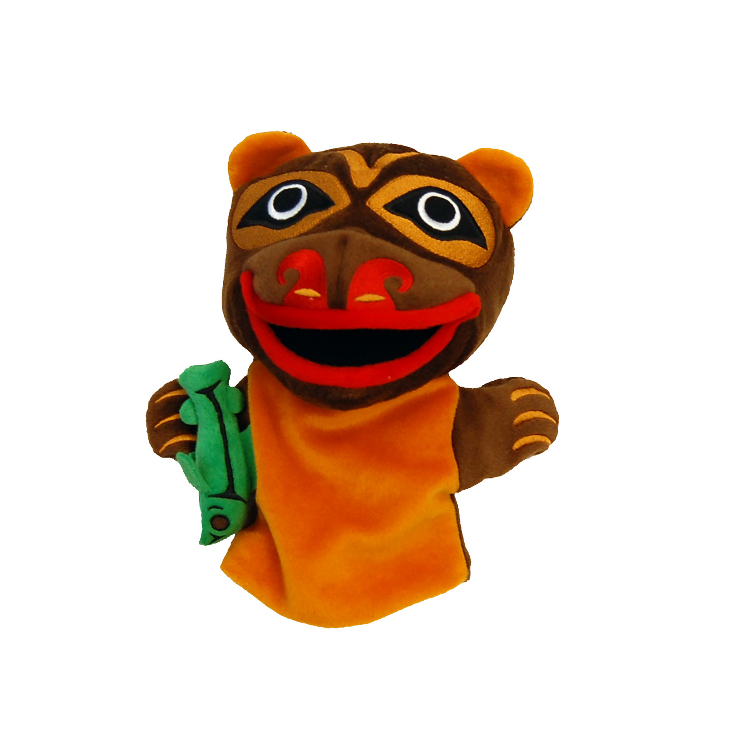 brown and orange bear puppet with First Nations artwork markings