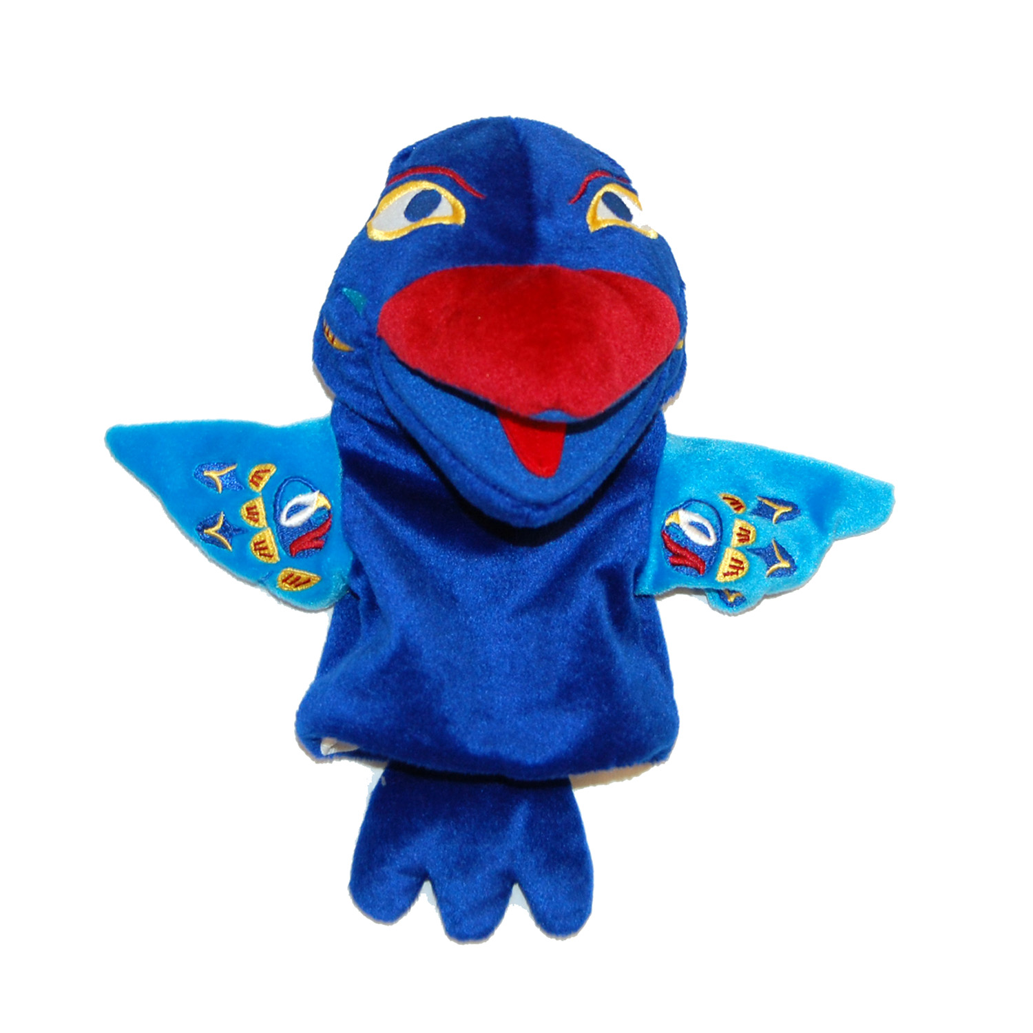 blue raven hand puppet created by First Nations artist