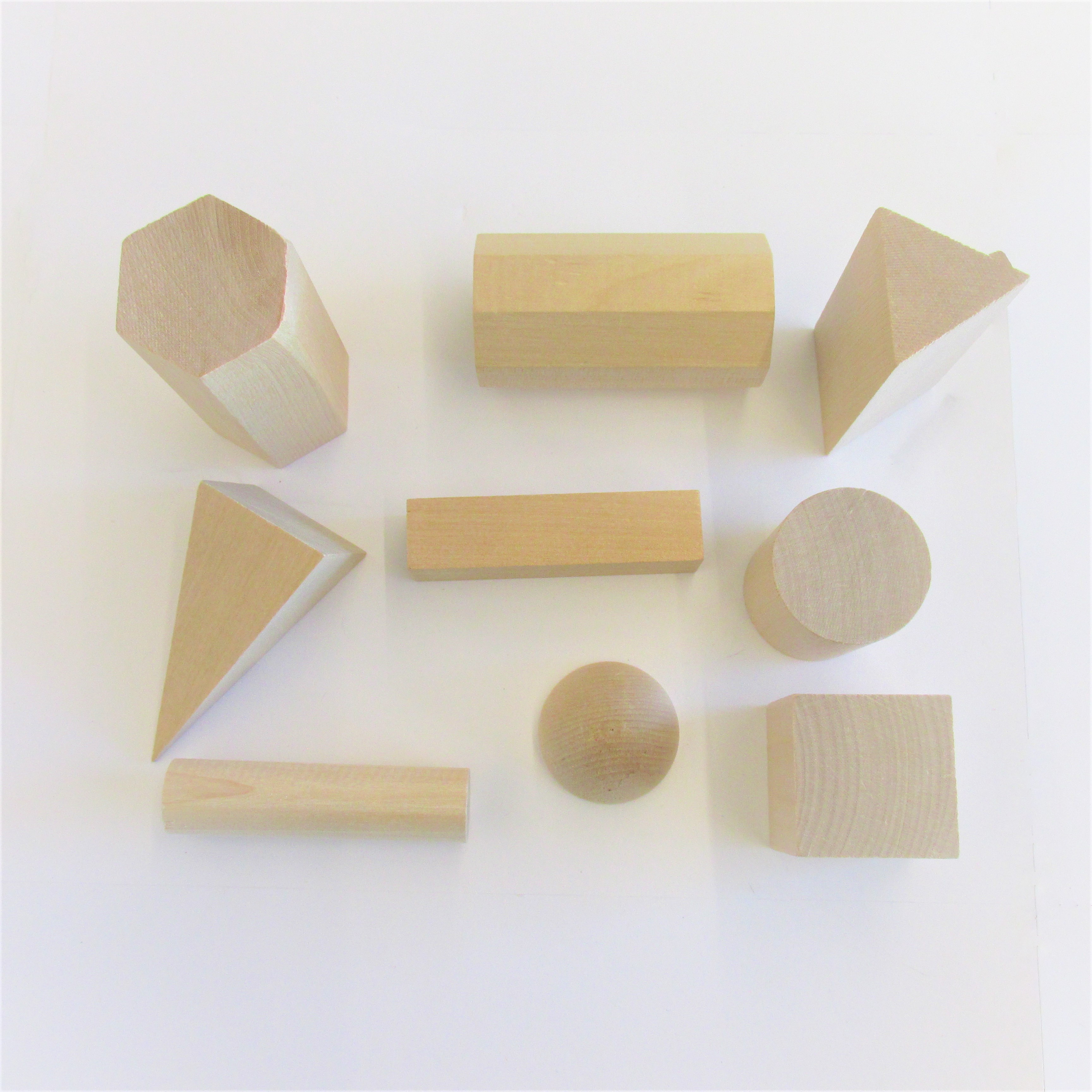 wood geometric solid shapes