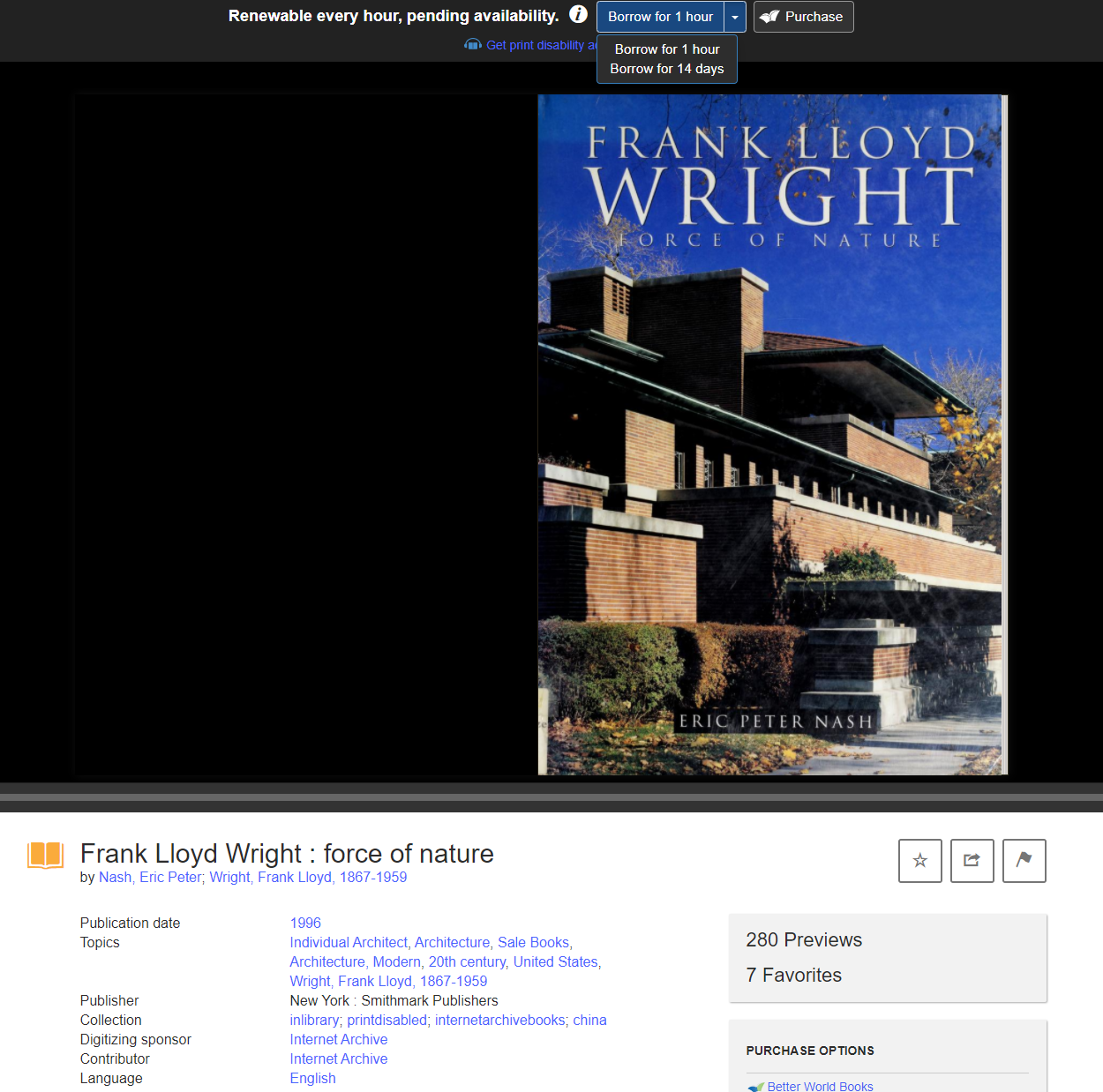 Screenshot of book 'Frank Lloyd Wright Force of Nature""