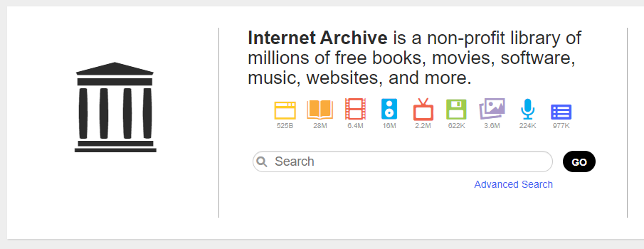 screenshot of internet archive search box