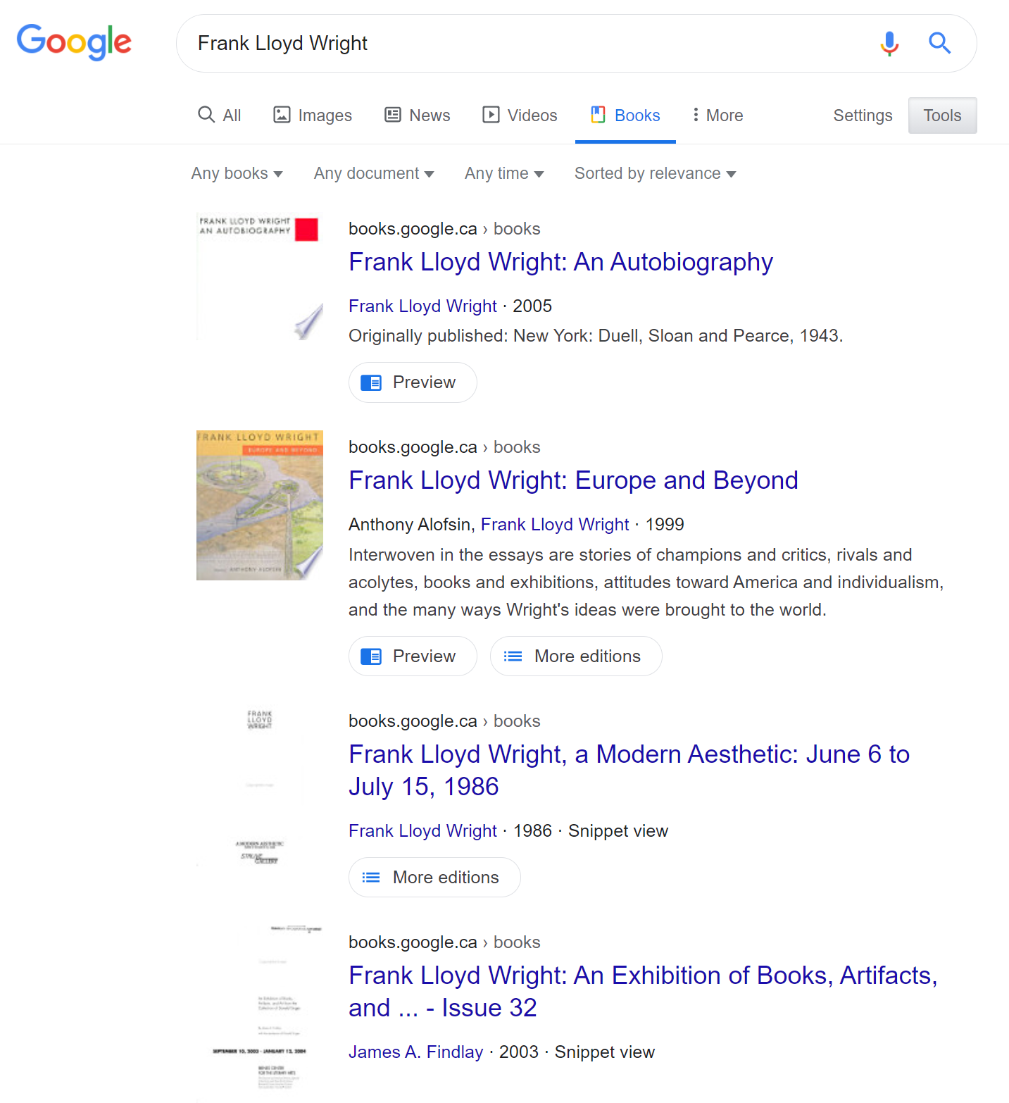 Screenshot of google books search results for Frank Lloyd Wright