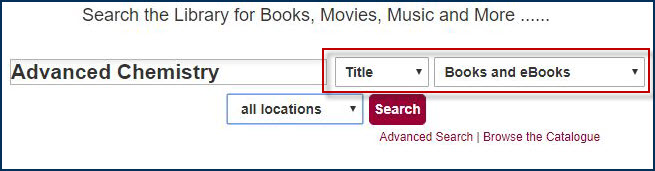 example of a book search in the library catalogue