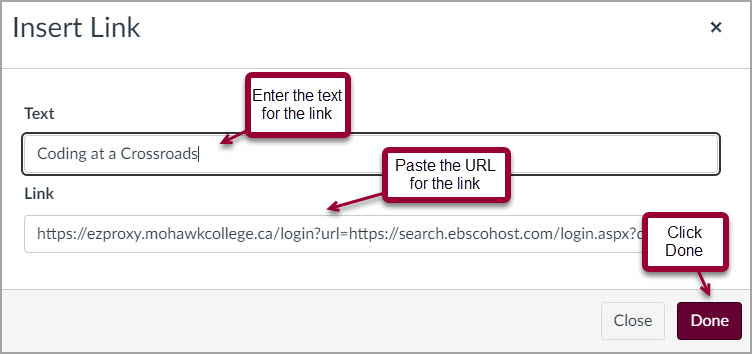 screenshot of inserting a link in canvas