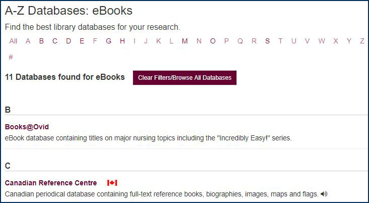 example of the eBooks database page