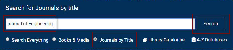 example of searching for a journal