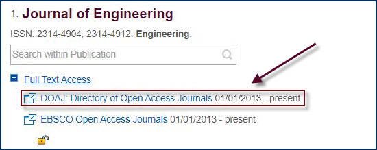 full text access links for journals