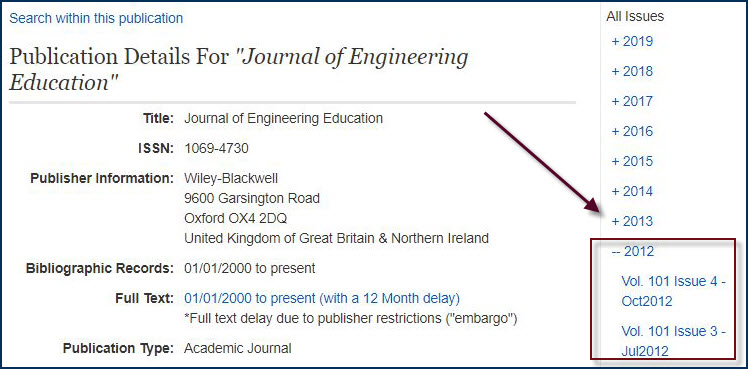 example of selecting a journal year and issue number