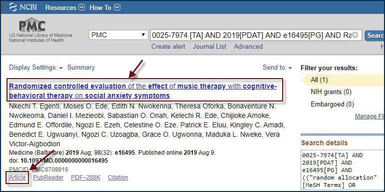 example of a full text finder link opening in pub med
