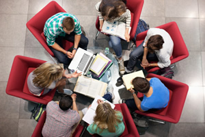 students studying in a group