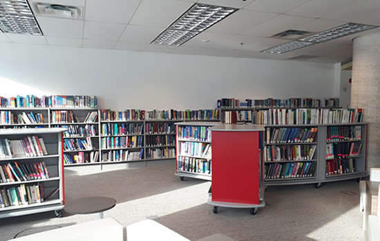 book shelves at the iahs library