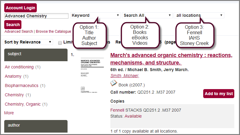 refining your search results in the catalogue