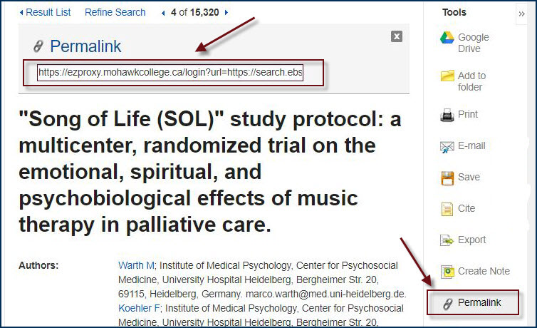 example of a permalink in ebsco