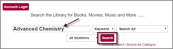 search the library catalogue directly