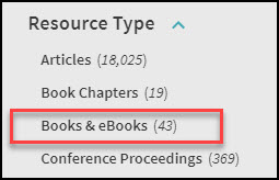 Resource Type filters in Omni highlighting the books and ebooks filter