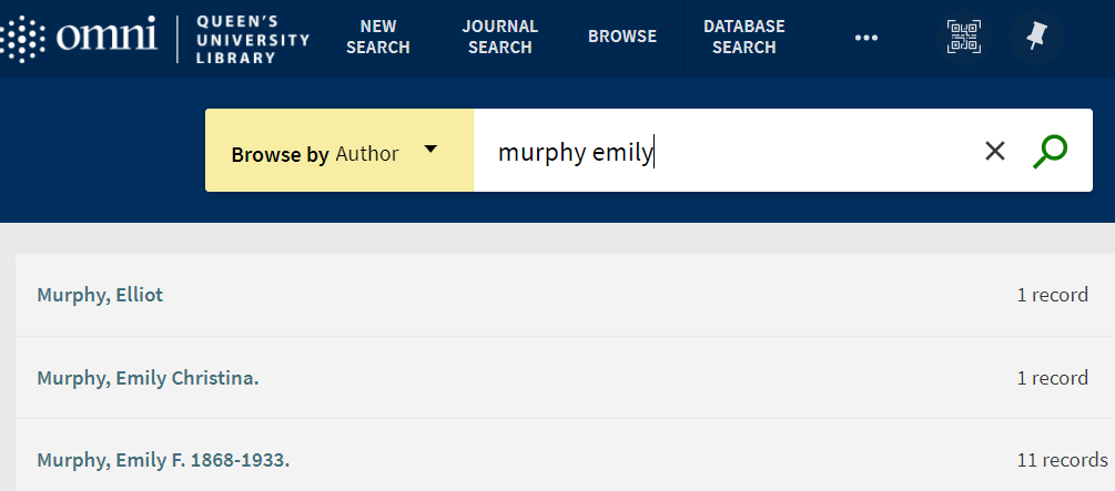 Author browse search for Emily Murphy.