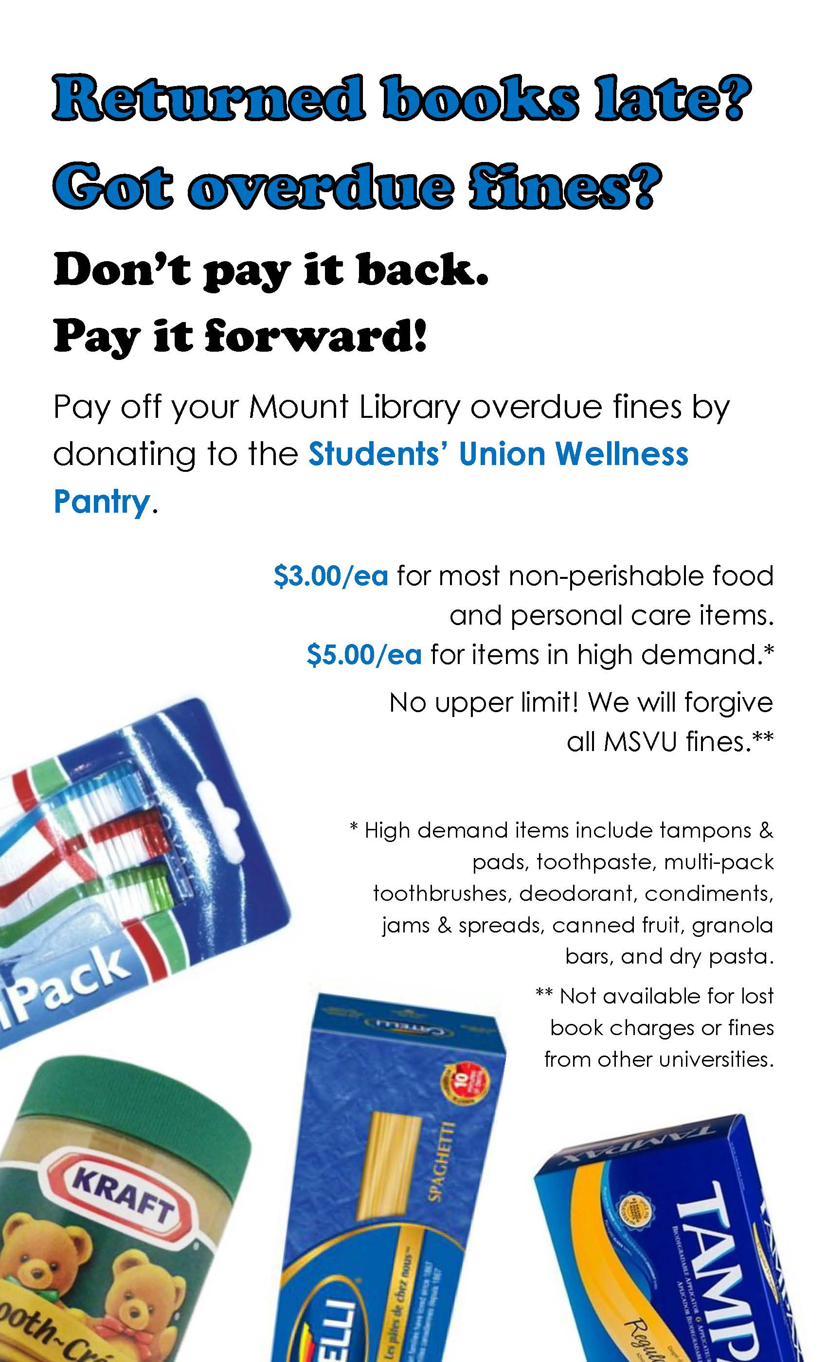 Image of poster, describing how you can donate food bank items to pay Mount Library fines
