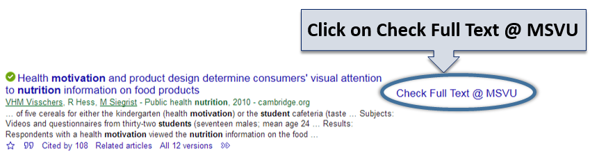 Image showing the Check Full Text @ MSVU link on the right side of the Google Scholar results page