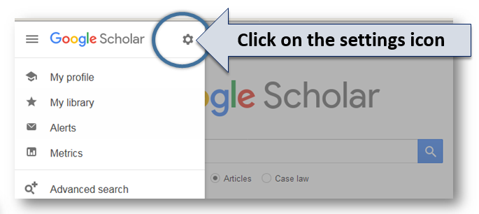 "Grey arrow labelled ""click on the setting icon"", pointing to a gear icon to the right of the words ""Google Scholar"""