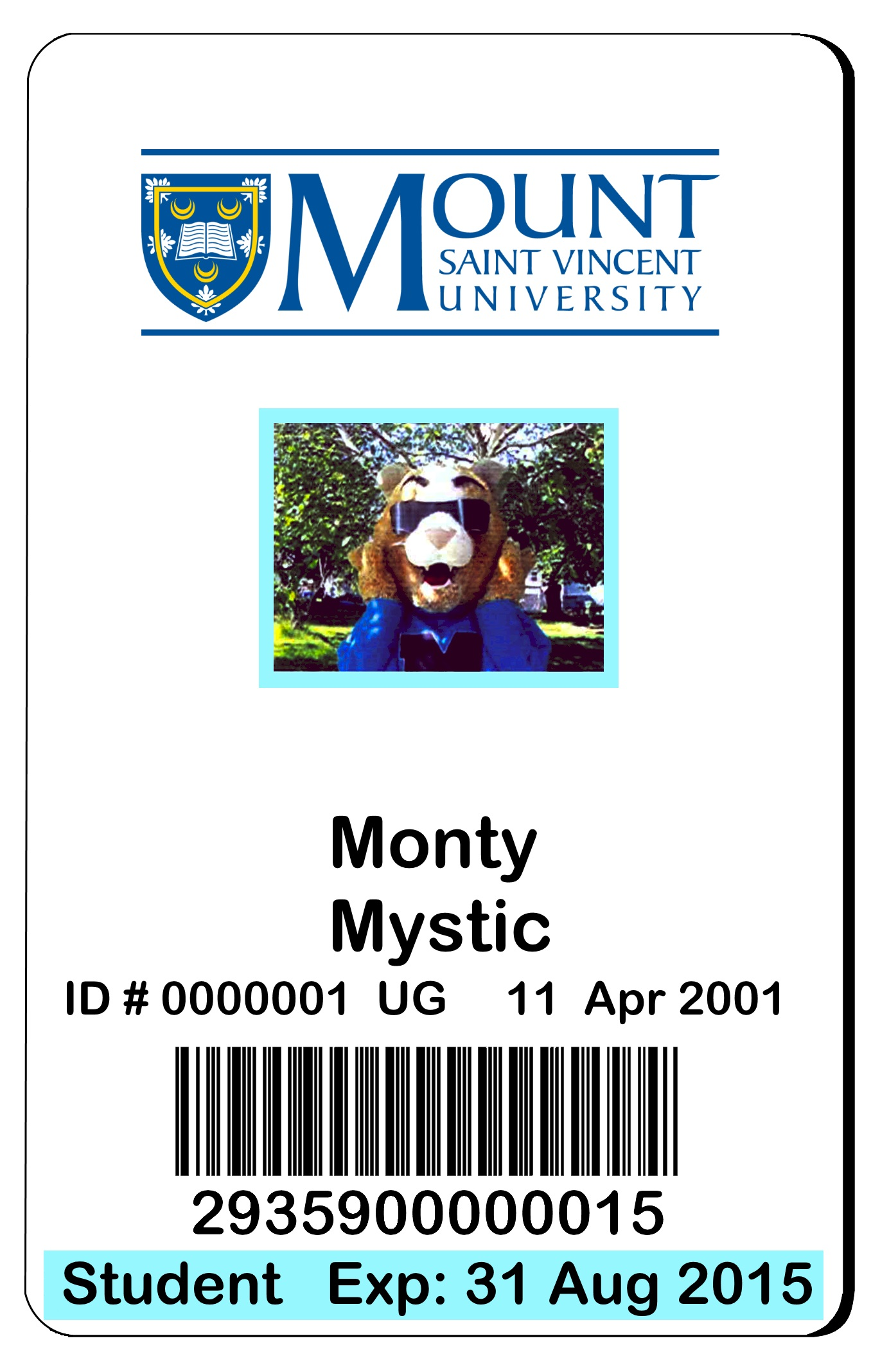 Image of Monty Mystic ID card
