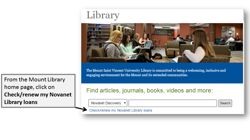 The 'Check/renew my Novanet Library loans' link is on the Library home page