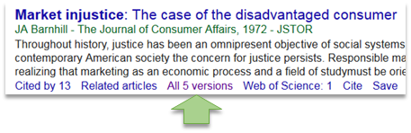 image showing the All versions link on the Google Scholar page.