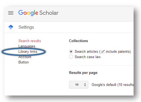 A blue circle is drawn around the Library Links tab in Google Scholar settings.