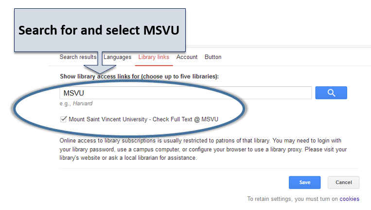 Search for and select MSVU in the Google Scholar Library Links setting page