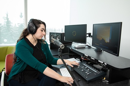 Student uses equipment and software in the Audio Production Rooms