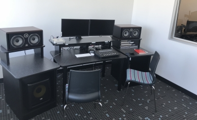 Editing suite in audio production room