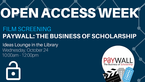Graphic promoting the screening of Paywall in the Ideas Lounge