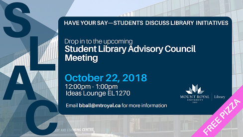 Student Library Advisory Council meeting poster
