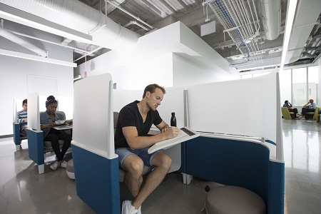 Students studying in pods