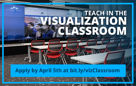 Apply to teach in the Visualization Classroom by April 5 for the Spring/Summer/Fall 2019 and Winter 2020 Semesters